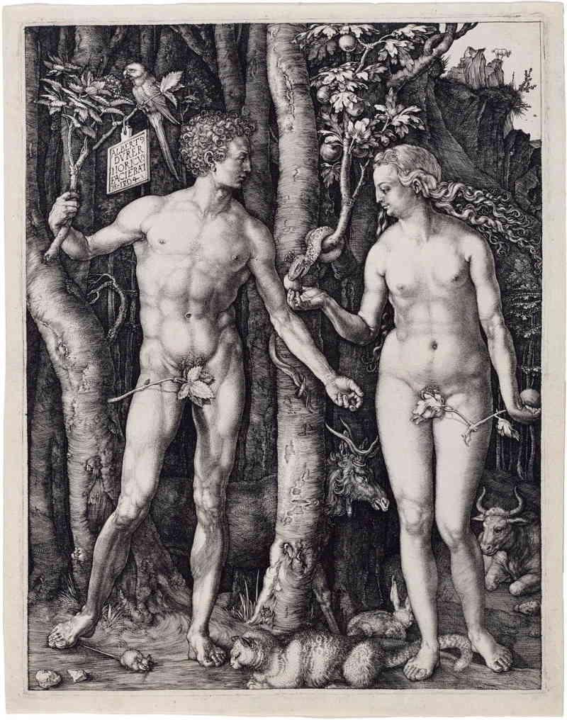 Adam et Eve dans le jardin d'Eden. Le serpent apporte à Eve le fruit interdit qui ouvrira les yeux de Eve puis de Adam.
